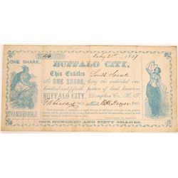 Buffalo City Stock Certificate, Kansas Territory  (125892)