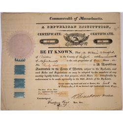H. Dearborn Signed Certificate for The Republican Institution 1829  (127048)