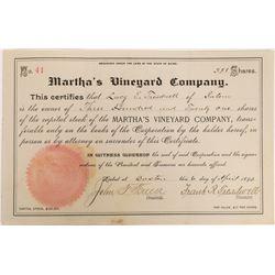 Uncancelled, Early Martha's Vineyard Company Stock  (126938)