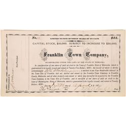 Franklin Town Company Stock Certificate  (126047)