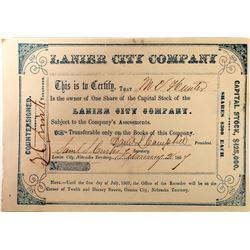 Nebraska Territory, Lanier City Co Stock  (127116)