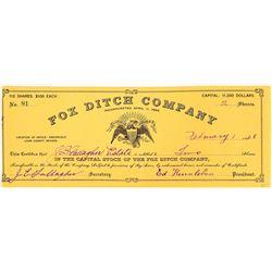 Fox Ditch Company Stock Certificate  (109307)