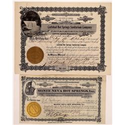 Two Hot Springs Company Stock Certificates  (126305)