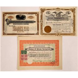 Thomas Edison Phonograph-Related Stock Certificates  (126310)