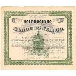 Friede Globe Tower Co. Stock Certificate (Coney Island Amusement Park Scheme)  (126032)