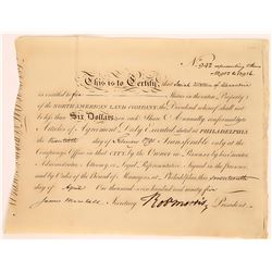North American Land Co. Stock w/ Autograph of a Signer of the Declaration of Independence  (107994)