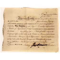 North American Land Co. Stock w/ Autograph of a Signer of the Declaration of Independence  (109148)