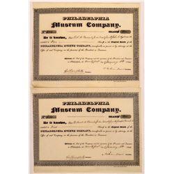 Philadelphia Museum Company Stock Certificate Pair  (126306)