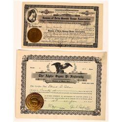 Fraternity & Sorority Stock Certificate Pair  (126342)