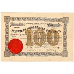 Plowman Publishing Company Stock Certificate  (126276)