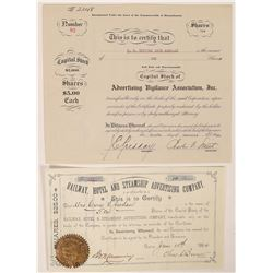 Two Advertising Printing Company Stock Certificates  (126273)