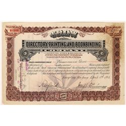 Trow Directory Printing & Bookbinding Co. Stock Certificate  (126281)