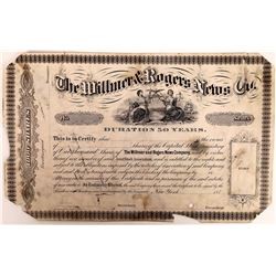 Wilmer & Rogers News Company Printers Proof Stock Certificate  (126297)