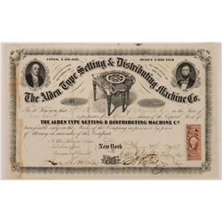 Alden Type Setting & Distributing Machine Co. Stock Certificate  (126272)