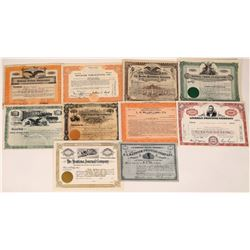 Publishing Press & Book Related Stock Certificate Group  (109123)