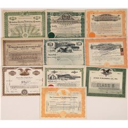 Publishing Press & Book Related Stock Certificate Group  (109120)