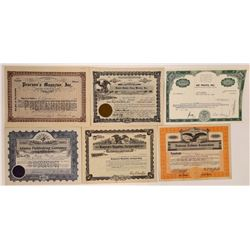 Six Different Printing & Publishing Stock Certificates  (126293)