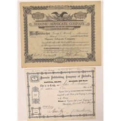 Two Masonic Related Printing & Publishing Stock Certificates  (126275)