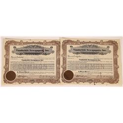 Vanderbilt Newspapers, Inc. Stock Certificates Signed by Vanderbilt  (107985)
