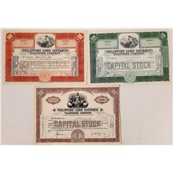 Philippine Long Distance Telephone Co. Stock Certificate Trio  (126364)