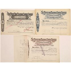 Monte Video Telephone Company, Limited Stock Certificates  (126416)