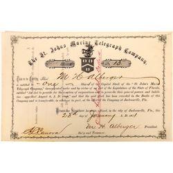 St. Johns Marine Telegraph Company Stock Certificate  (126394)