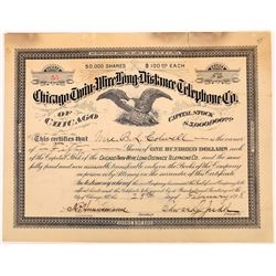 Chicago Twin Wire Long Distance Telephone Co. Stock Certificate  (126372)