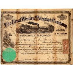 Great Western Telegraph Company Stock Certificate  (126237)