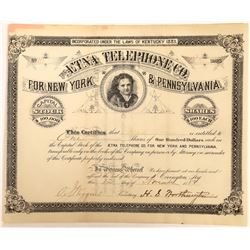 Aetna Telephone Company for New York & Pennsylvania Stock Certificate  (126431)