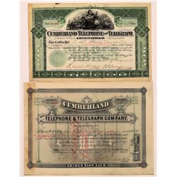 Cumberland Telephone & Telegraph Company Stock Certificate Pair  (126389)