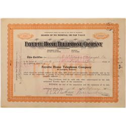Fayette Home Telephone Co. Stock w/ Large Denomination Revenue Stamps  (126421)
