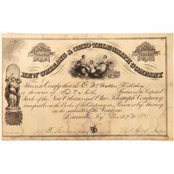 New Orleans & Ohio Telegraph Company Stock Certificate  (126405)