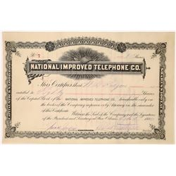 National Improved Telephone Company Stock Certificate  (126413)