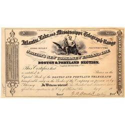 O'Rielly's Atlantic, Lake & Mississippi Telegraph Range Stock Certificate  (126248)
