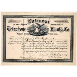 National Telephone Manufacturing Company Stock Certificate  (126412)