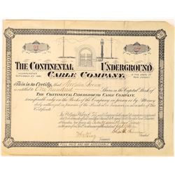 Continental Underground Cable Company Stock Certificate  (126254)