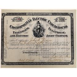 Cosmopolitan Electric Underground Telegraph, Telephone, & Electric Light Co. Stock  (126387)