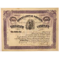 International Wireless Telegraph Company Stock Certificate  (126426)