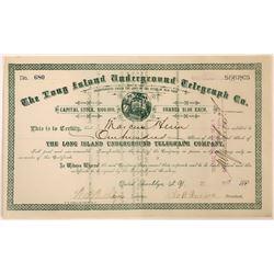Long Island Underground Telegraph Company Stock Certificate  (126420)
