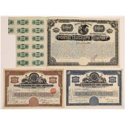 Postal Telegraph & Cable Company Stock Certificates & Bond  (126363)
