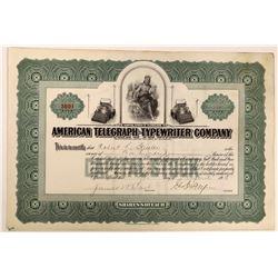 American Telegraph-Typewriter Company Stock Certificate  (126434)