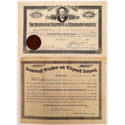 Drawbaugh Telephone & Telegraph Company Stock Certificate Pair  (126386)