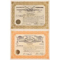 International Telepost Company, Inc. Stock Certificate Pair  (126398)
