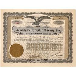Jewish Telegraphic Agency, Inc. Stock Certificate  (126439)