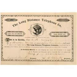 Long Distance Telephone Company Stock Certificate  (126419)