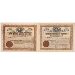 North American Wireless Corporation Stock Certificate Pair  (126411)
