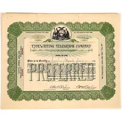 Typewriting Telegraph Company Stock Certificate  (126444)