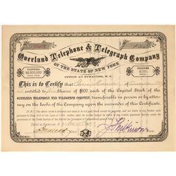 Overland Telephone & Telegraph Company Stock Certificate  (126401)