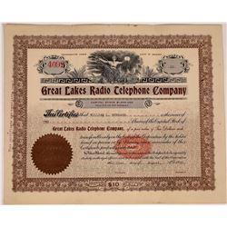 Great Lakes Radio Telephone Company Stock Certificate  (126379)