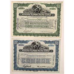 Associated Telephone Utilities Co. Stock Certificate Pair  (126424)